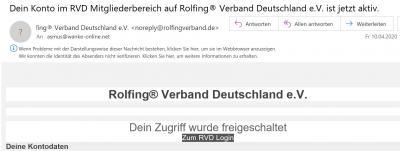 Bestätigung der Anmeldung vom RVD